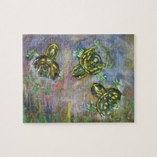 Fine Art Three Turtle Painting Rainbow Puzzle Pond