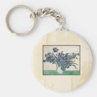 Fine Art Van Gogh Irises Basic Round Button Keychain