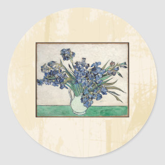 Fine Art Van Gogh Irises Classic Round Sticker
