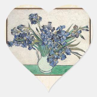 Fine Art Van Gogh Irises Heart Sticker