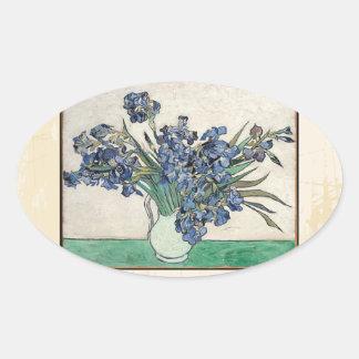 Fine Art Van Gogh Irises Oval Sticker