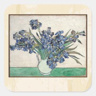 Fine Art Van Gogh Irises Square Sticker