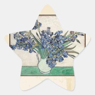Fine Art Van Gogh Irises Star Sticker