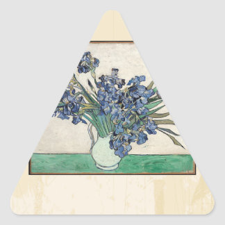 Fine Art Van Gogh Irises Triangle Sticker