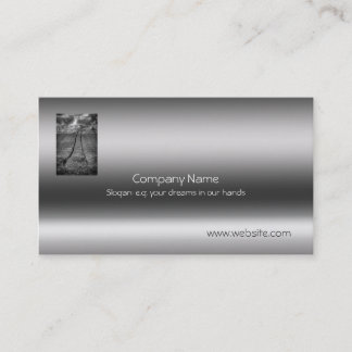 Fine art, View over Wheatfield on Metallic-look Business Card
