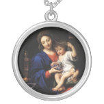 Fine Art Virgin Mary and Jesus Round Pendant Necklace