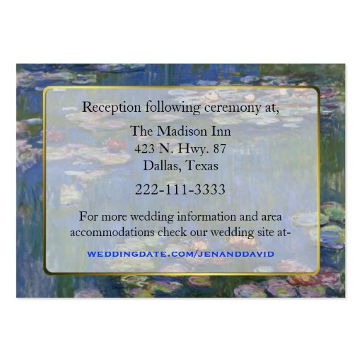 Fine Art Water Lilies Wedding enclosure cards Business Cards