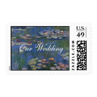 Fine Art Water Lilies Wedding Stamp
