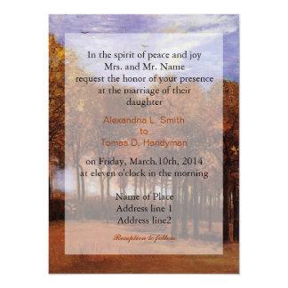Fine art wedding invitations, Autumn Landscape Custom Announcement