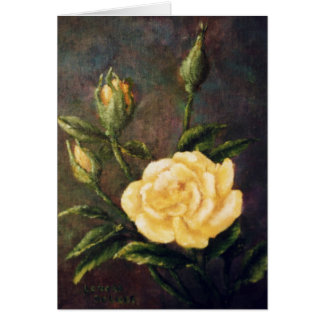 Fine Art Yellow Rose and Buds Still Life Card