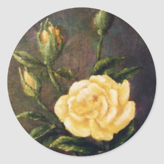 Fine Art Yellow Rose and Buds Still Life Classic Round Sticker