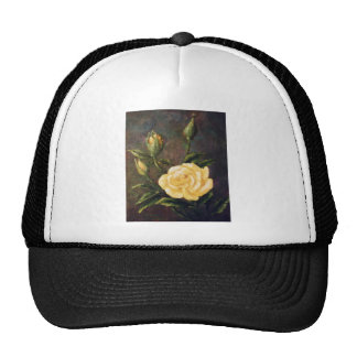Fine Art Yellow Rose and Buds Still Life Mesh Hats