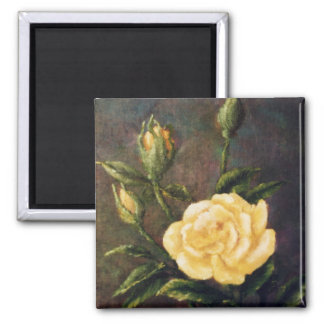 Fine Art Yellow Rose and Buds Still Life Magnet