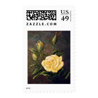 Fine Art Yellow Rose and Buds Still Life Postage Stamps