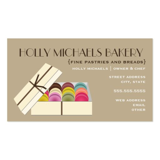 Fine Bakery Business Card Macarons