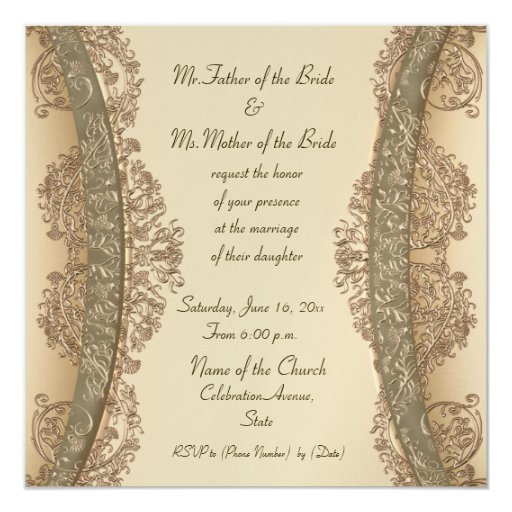 Fine beige and gold damask wedding invitations