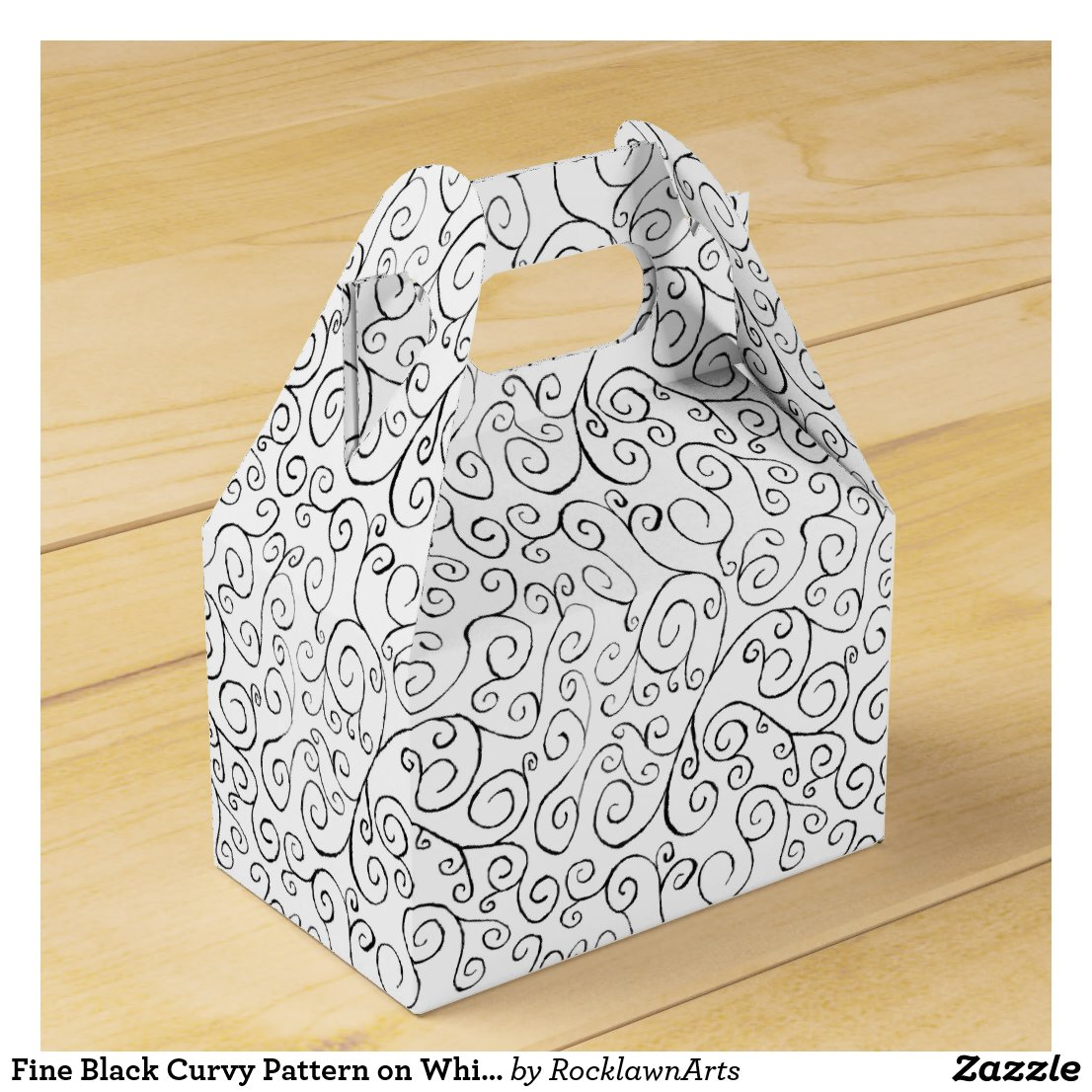 Fine Black Curvy Pattern on White Gable Favor Box