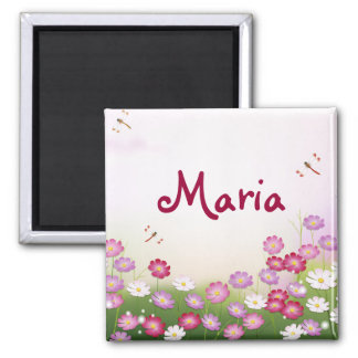 Fine Cool Cute Girly Retro Floral Fashion 2 Inch Square Magnet