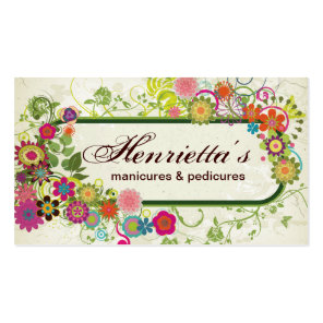 Fine Cute Cool Girly Retro Floral Fashion Double-Sided Standard Business Cards (Pack Of 100)