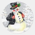Fine Fat Snowman in Top Hat Classic Round Sticker