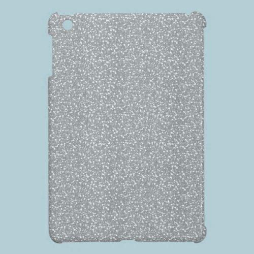 Fine Faux Glitter Shiny Sparkles Silver White iPad Mini Case