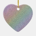 Fine Faux Glitter Sparkles Rainbow Pearl Diagonal Ceramic Ornament
