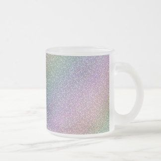 Fine Faux Glitter Sparkles Rainbow Pearl Diagonal Frosted Glass Coffee Mug