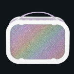 """Fine Faux Glitter Sparkles Rainbow Pearl Diagonal Lunch Box<br><div class=""""desc"""">A light colored soft and subtle sparkling faux glitter pearlescent looking rainbow sheen. Very sparkly looking pattern in diagonal stripes of pastel pearl looking colors. An original digital artwork.</div>"""