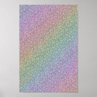 Fine Faux Glitter Sparkles Rainbow Pearl Diagonal Poster