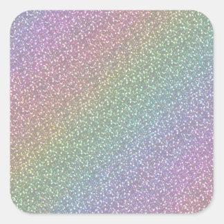 Fine Faux Glitter Sparkles Rainbow Pearl Diagonal Square Sticker