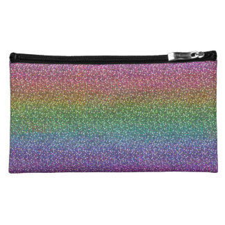 Fine Faux Glitter Sparkles Shiny Rainbow Cosmetic Bag