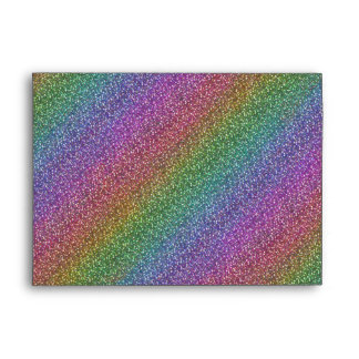 Fine Faux Glitter Sparkles Shiny Rainbow Diagonal Envelope