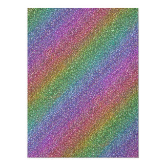 Fine Faux Glitter Sparkles Shiny Rainbow Diagonal Custom Announcements