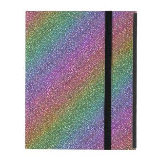 Fine Faux Glitter Sparkles Shiny Rainbow Diagonal iPad Folio Case