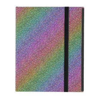 Fine Faux Glitter Sparkles Shiny Rainbow Diagonal iPad Folio Case