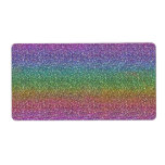 Fine Faux Glitter Sparkles Shiny Rainbow Shipping Label