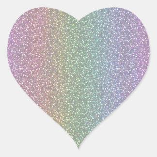 Fine Faux Glitter Sparkles Shiny Rainbow Pearl Heart Sticker