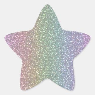 Fine Faux Glitter Sparkles Shiny Rainbow Pearl Star Sticker
