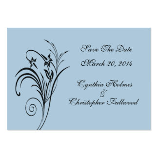 Fine Floral Black Save The Date Large Business Cards (Pack Of 100)