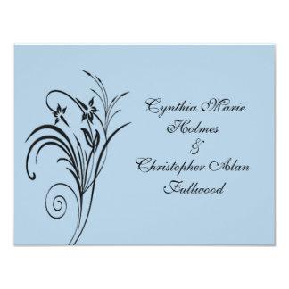 Fine Floral Black Wedding Invites