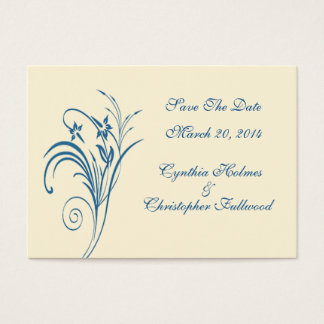 Fine Floral Budding Blue Save The Date Cards
