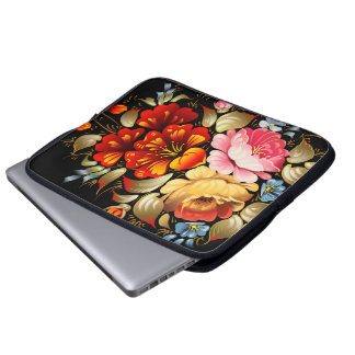 Fine Flower Cool Cute Girly Retro Floral Laptop Sleeve