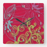Fine Flower Cool Cute Girly Retro Floral Square Wallclocks