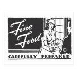 Fine Food Carefully Prepared Postcard