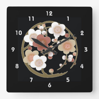 Fine Japanese Cute Cool Girly Retro Floral Square Wallclock