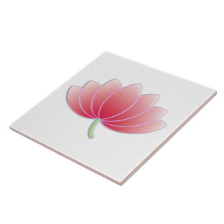 Fine Pink Lotus Flower Cute Girly Retro Floral Tile