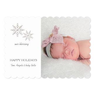 "Fine Snowflakes Holiday Photo Card 5"" X 7"" Invitation Card"