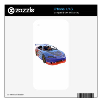 Fine Tuned Red and Blue Racing Car Decal For iPhone 4S