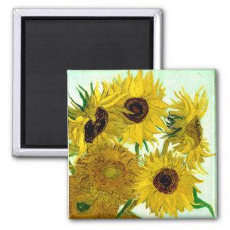 Fine Van Gogh Sunflowers Vintage Floral 2 Inch Square Magnet