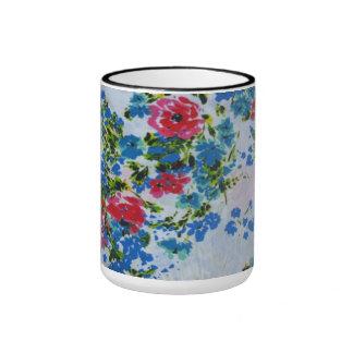 Fine Vintage Red Blue Indian Floral Pattern Ringer Mug